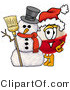 Clip Art of a Festive Fishing Bobber Mascot Cartoon Character with a Snowman on Christmas by Toons4Biz