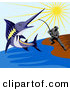 Clip Art of a Fisherman Reeling in a Blue Marlin on the Shore by Patrimonio