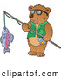 Clip Art of a Friendly Bear Holding His Catch on a Fishing Pole by Visekart