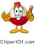Clip Art of a Friendly Fishing Bobber Mascot Cartoon Character Holding a Pencil by Toons4Biz