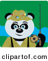Clip Art of a Giant Panda Bear Fisherman Character by Dennis Holmes Designs