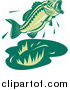 Clip Art of a Green Jumping Largemouth Bass Fish by Patrimonio