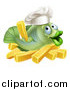 Clip Art of a Happy Green Cod Fish Chef Holding a French Fry over Chips by AtStockIllustration