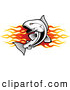 Clip Art of a Jumping Fish over Flames Banner Logo by Vector Tradition SM