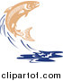 Clip Art of a Leaping Salmon Fish and Blue Water Splash by Patrimonio