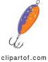 Clip Art of a Purple and Orange Fishing Lure with a Hook by Graphics RF