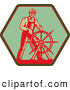 Clip Art of a Retro Captain Steering a Helm of a Ship on a Green Sign by Patrimonio