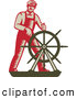 Clip Art of a Retro Captain Steering the Helm of a Ship by Patrimonio