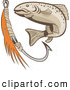 Clip Art of a Retro Fish and Hook Logo on White by Patrimonio