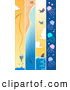 Clip Art of a Set of Vertical Fishing, Whale Shark, and Jellyfish Banners by BNP Design Studio