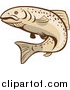 Clip Art of a Tan Rainbow Trout Fish by Patrimonio