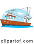 Clip Art of a Trawler Fishing Boat out at the Ocean by Djart
