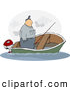Clip Art of a White Man Standing up in a Sinking Fishing Boat by Djart
