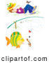 Clip Art of a Worm and Fish Under a Fishing Pole and Napping Boy on White by Alex Bannykh