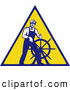 Clip Art of an Old Fashioned Captain Steering a Helm on a Yellow Sign by Patrimonio