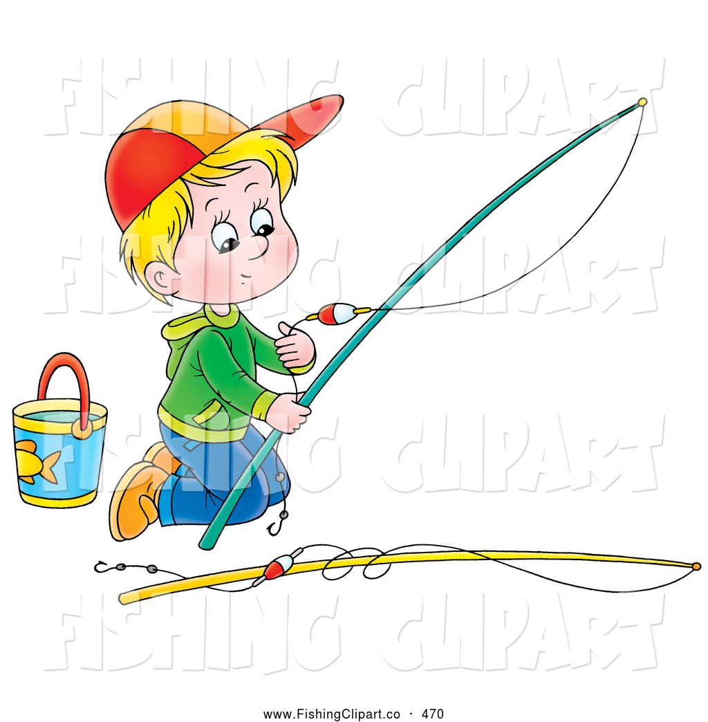 clip art of a boy kneeling and preparing a child by alex bannykh 470 rh fishingclipart co