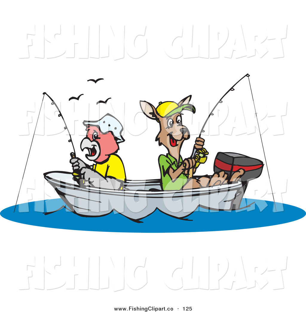 Clip Art Of A Parrot And Kangaroo Fishing In A Boat On A Lake By