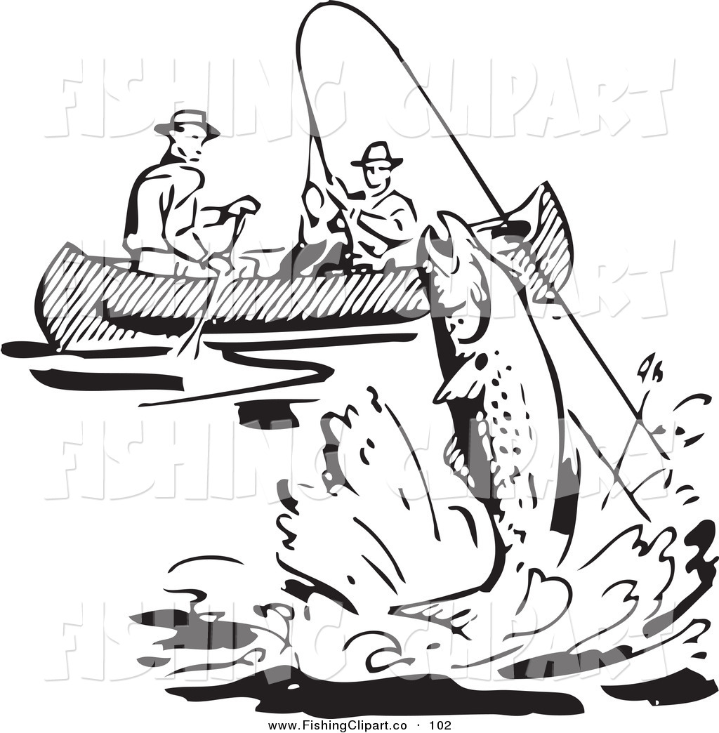 clip art of a retro black and white men fishing in a boat a fish leaping nearby by bestvector 102