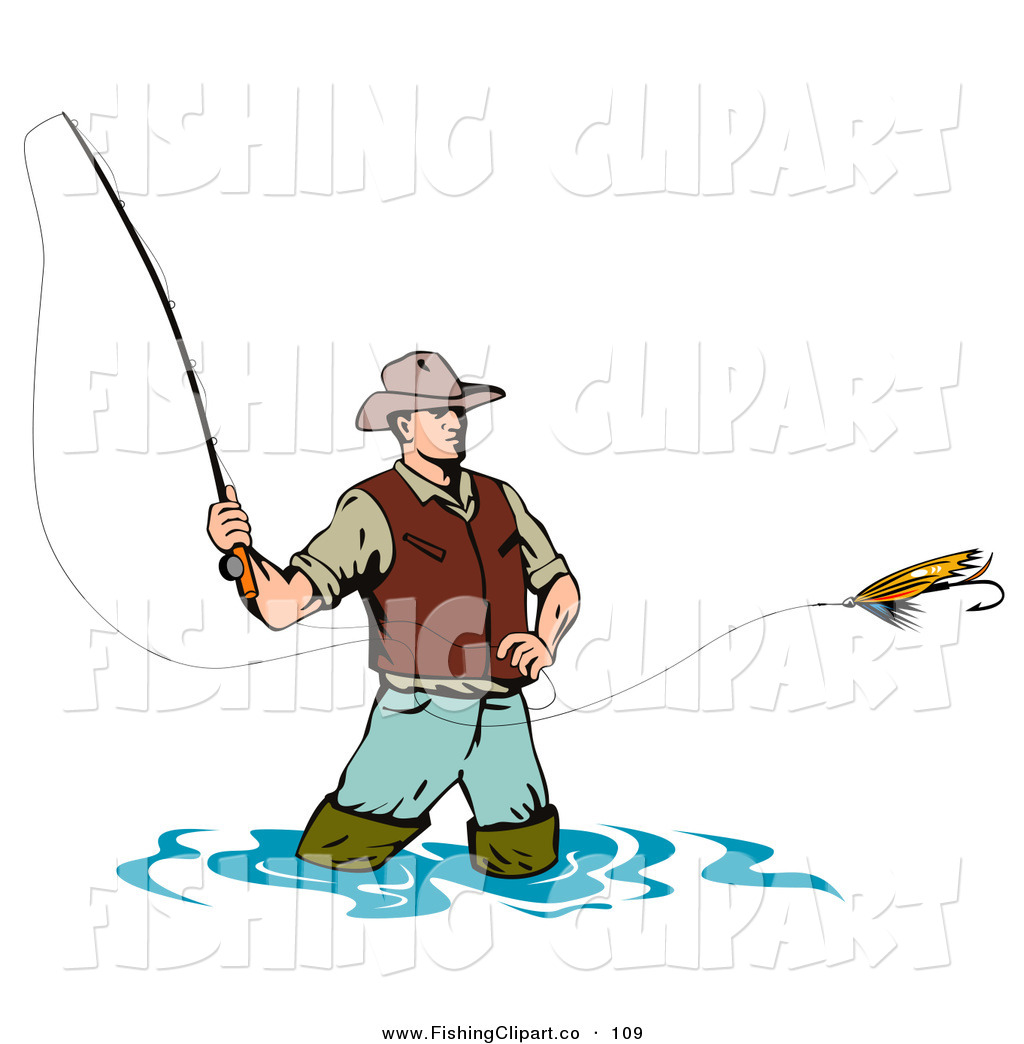 Clip Art of a Sporty Wading Fly Fishing Man Casting His ...