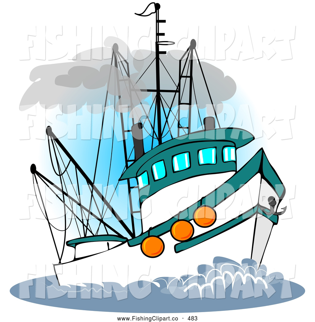 clip art of a trawler fishing boat at sea on white by djart 483 rh fishingclipart co fishing boat images clip art fishing boat clip art free