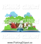 Clip Art of 3d White Kids Fishing in a Camping Pop up Story Book by BNP Design Studio