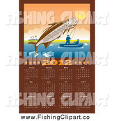 Clip Art of a 2012 Fishing Calendar with a Leaping Tarpon by Patrimonio