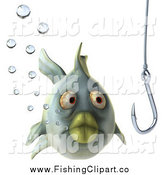 Clip Art of a 3d Green Fish with Bubbles, Looking at a Hook by Julos