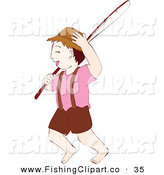 Clip Art of a Barefoot Boy Carrying a Fishing Pole over His Shoulder by Cherie Reve