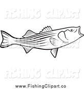 Clip Art of a Black and White Bass Fish with an Open Mouth by Lal Perera