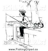 Clip Art of a Black and White Cat Resting by a Man Fishing by Prawny Vintage