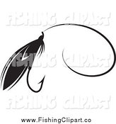 Clip Art of a Black and White Fly Fishing Lure with a Hook by Lal Perera