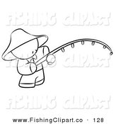 Clip Art of a Black and White Human Factor Chinese Man Fishing on White by Leo Blanchette