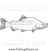 Clip Art of a Black and White Humpback Salmon by Vector Tradition SM