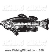 Clip Art of a Black and White Largemouth Bass Fish by Patrimonio