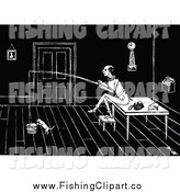 Clip Art of a Black and White Man and Cat Fishing in a Bucket by Prawny Vintage