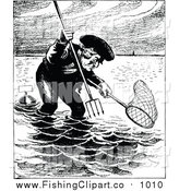 Clip Art of a Black and White Man Fishing with a Pitchfork and Net by Prawny Vintage