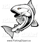 Clip Art of a Black and White Salmon Fish with Orange Eyes by Vector Tradition SM