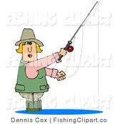Clip Art of a Blond White Woman Wading in Water and Fishing by Djart