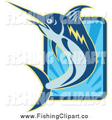 Clip Art of a Blue Marlin Leaping over a Rectangle of Rays by Patrimonio
