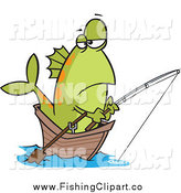Clip Art of a Bored Green Fish Fishing from a Boat by Toonaday