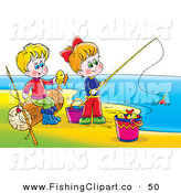 Clip Art of a Boy and Girl Having Fun While Playing and Fishing on a Beach by Alex Bannykh