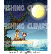 Clip Art of a Boy and His Father Fishing at Night by Graphics RF