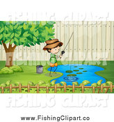 Clip Art of a Boy Fishing at a Pond by Graphics RF