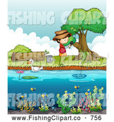 Clip Art of a Boy Fishing on a Pond by Graphics RF