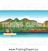 Clip Art of a Boy Fishing with His Dad on an Autumn Lake by Graphics RF