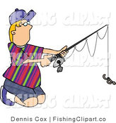 Clip Art of a Boy Kneeling and Fishing by Djart