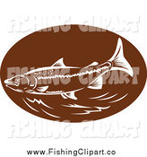 Clip Art of a Brown and White Trout Oval by Patrimonio