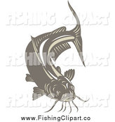 Clip Art of a Brown Catfish by Patrimonio