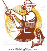 Clip Art of a Brown Fly Fisherman Reeling in a Largemouth Bass Fish in a Circle of Rays by Patrimonio