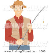 Clip Art of a Brunette Caucasian Man Holding a Fishing Pole, Wearing a Vest and Hat by BNP Design Studio